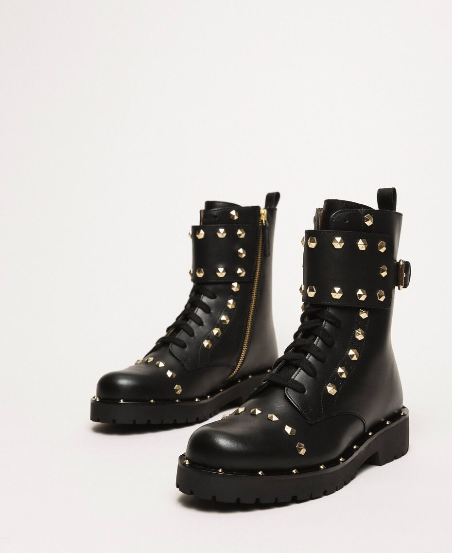 Leather combat boots with studs Black Woman 999TCP020-01