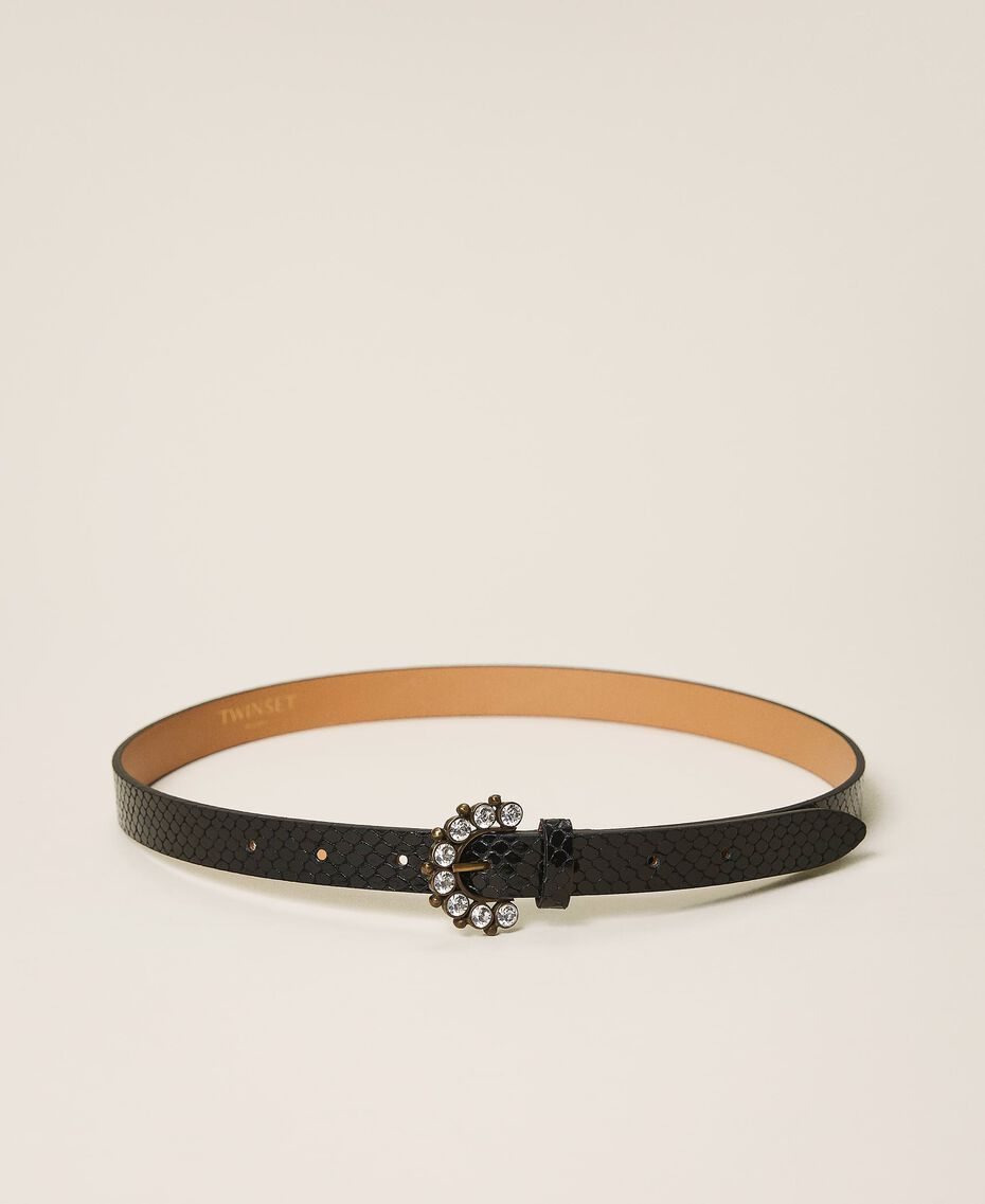 Leather belt with jewel buckle Black Python Print Woman 202TO5015-03