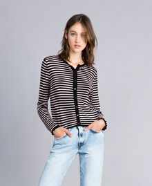 """Two-tone striped cardigan with ruches Black / """"Cloud Pink Stripe Woman JA83BR-01"""