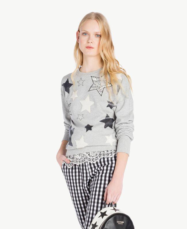 Sweatshirt mit Sternen Grau Melange Frau JS82H2-01
