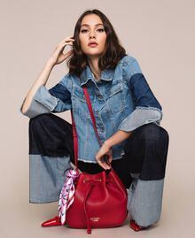 Faux leather bucket bag with scarf Venetian Red Woman 201MA7082-0S