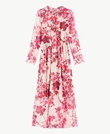 "Printed long dress ""Love Bites"" Fuchsia Flowers Print IA7KLL-01"
