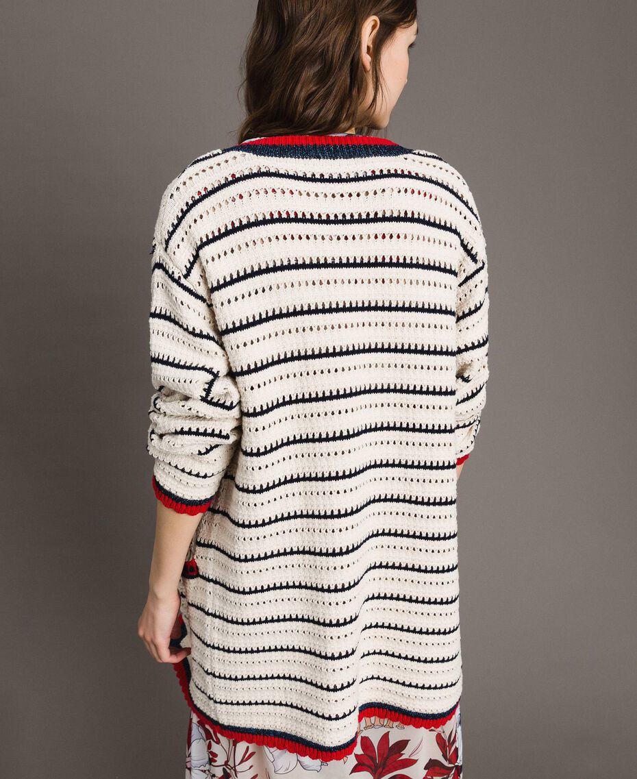 "Openwork knitted cardigan Multicolour Ecru / ""Poppy"" Red / Blue Shadow Woman 191ST3091-03"