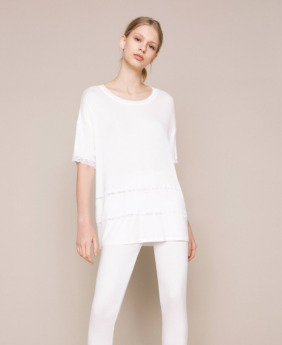 Ribbed pyjamas with lace Ivory Woman 201LL25BB-01
