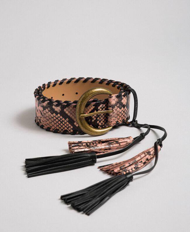"Python print leather belt, regular ""Anthracite"" Grey Python Print Woman 192TA4301-01"
