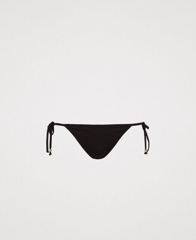 Brazilian bikini bottom with tie laces Black Woman 191LMMB77-01