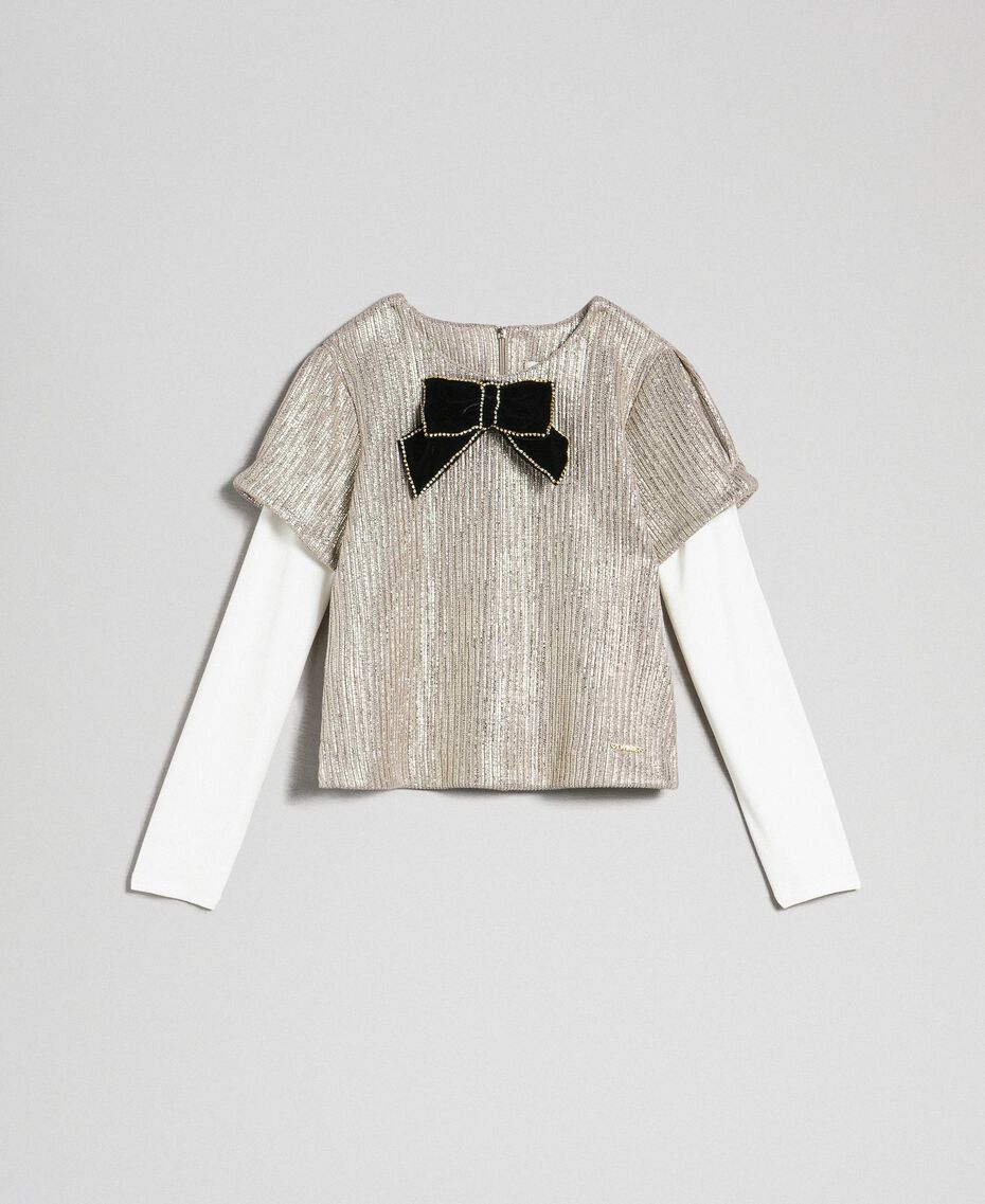 Laminated knit blouse with brooch Pale Gold Yellow Child 192GJ2365-0S