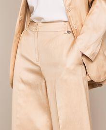 Pantalon cropped en lin mélangé Beige Chocolat au lait Femme 201MT2020-03
