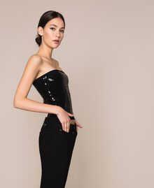 Bandeau top with sequins Black Woman 201MP3030-01