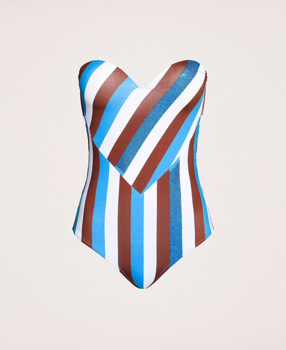 "One-piece swimsuit with stripes and rhinestones Multicolour ""Bay"" Blue / ""Choco"" Brown / Optical White Woman 201LMMFXX-0S"