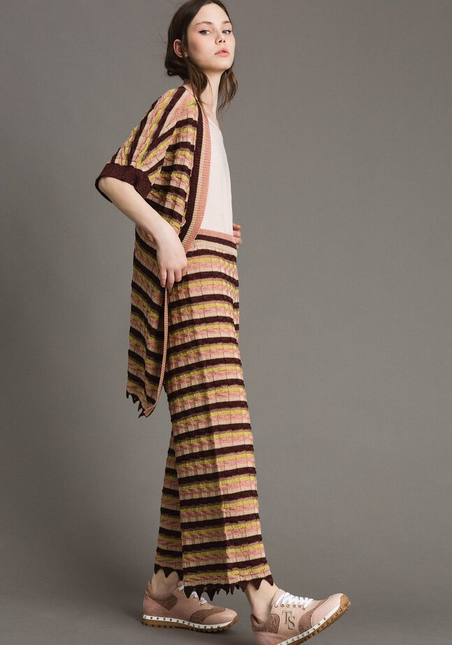 Palazzo trousers with lurex stripes