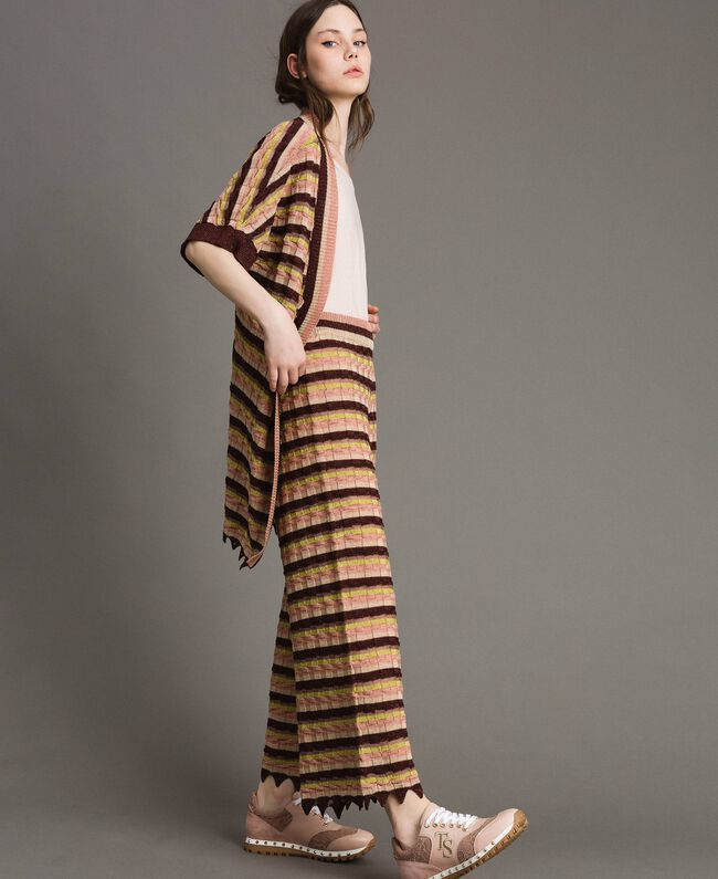 """Pantalon palazzo rayé en lurex Multicolore Marron """"Poudre De Bronze"""" Femme 191LB3AEE-01"""