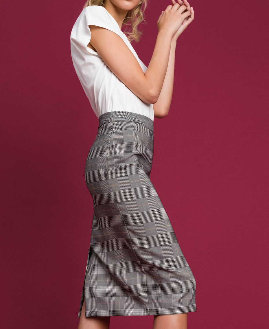 Mid-length Glen plaid skirt Prince of Wales Woman 192MP2283-03