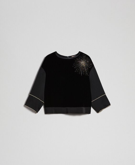 Velvet and cady blouse with embroidery