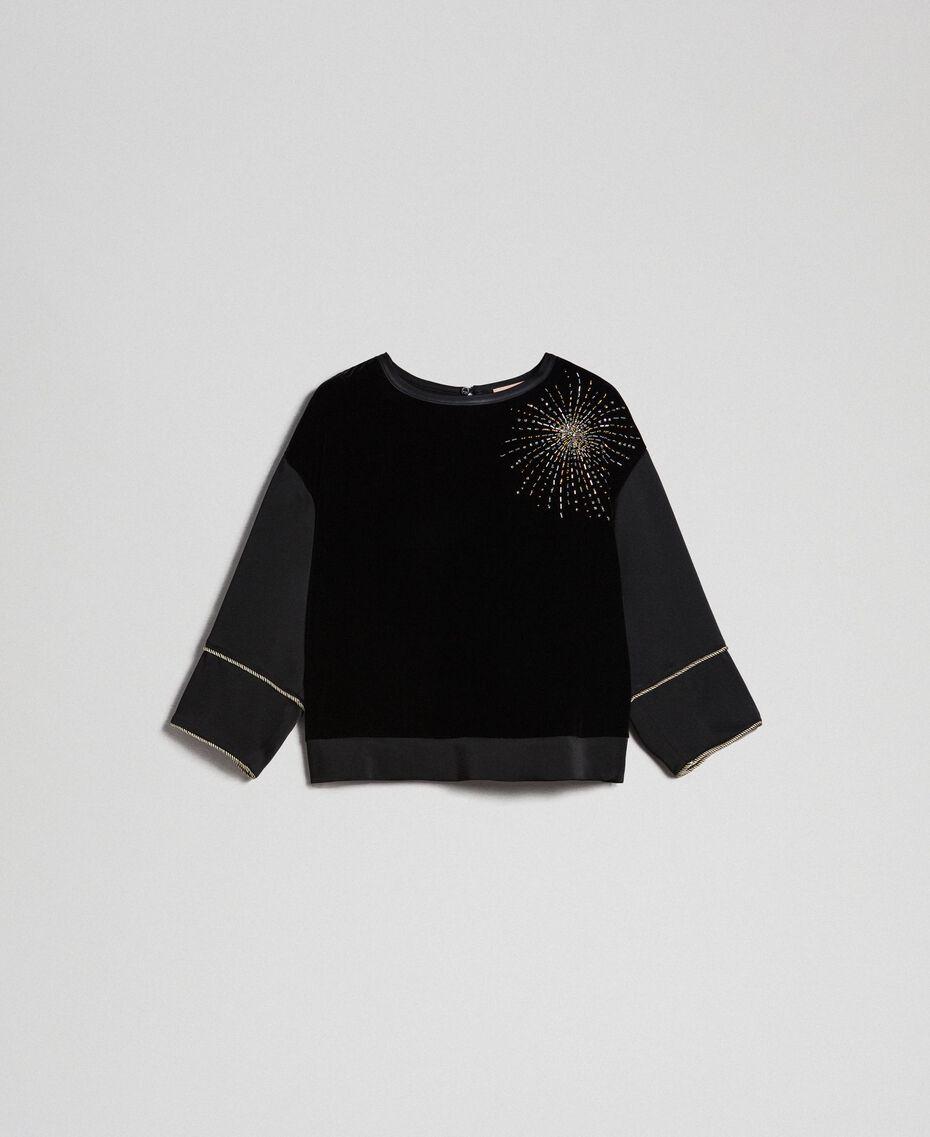 Blusa de terciopelo y cady con bordado Negro Mujer 192TT2422-0S