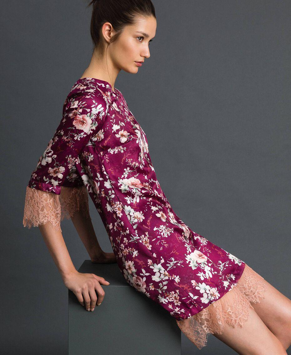 Kleid aus geblümtem Jacquard und Spitze Blumenprint Purpurrot Frau 192LI25FF-01