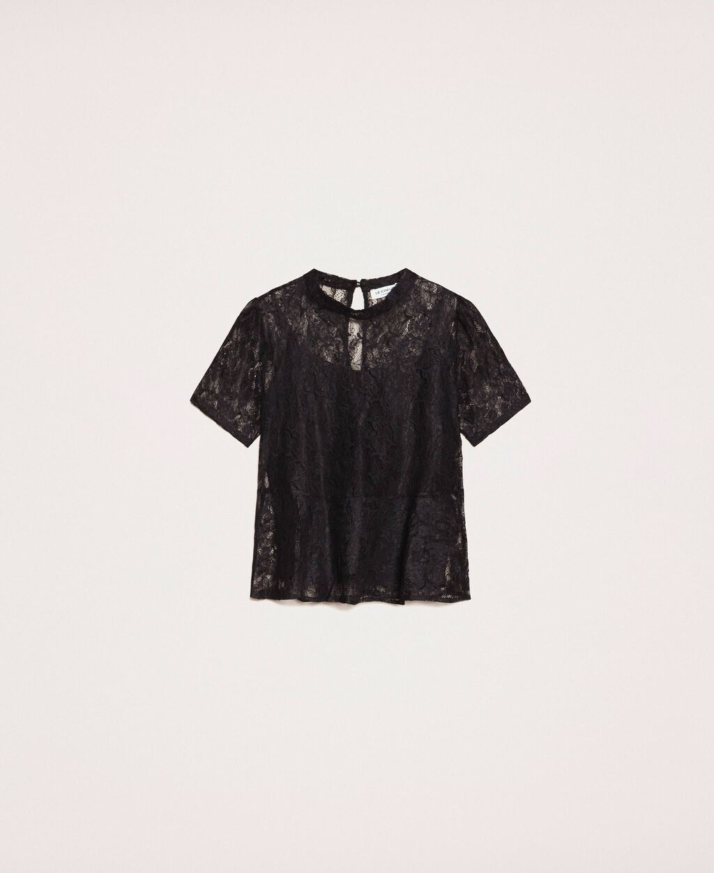 Lace blouse with flounce