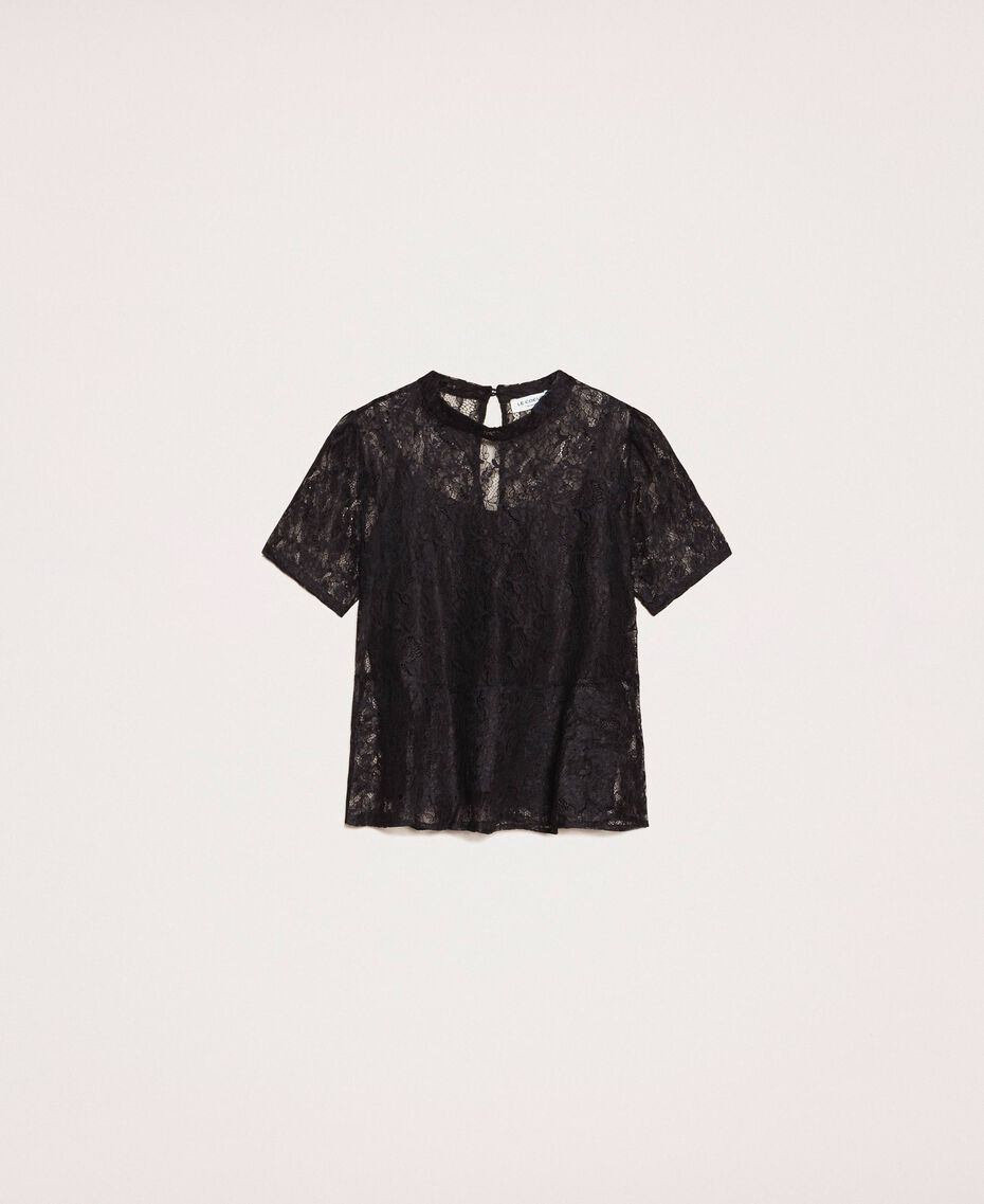 Lace blouse with flounce Black Woman 201ST2150-0S