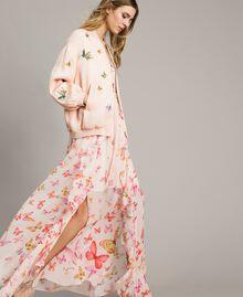 Robe longue en georgette à imprimé papillon Imprimé Papillon Rose Mixte Femme 191TT2391-0T