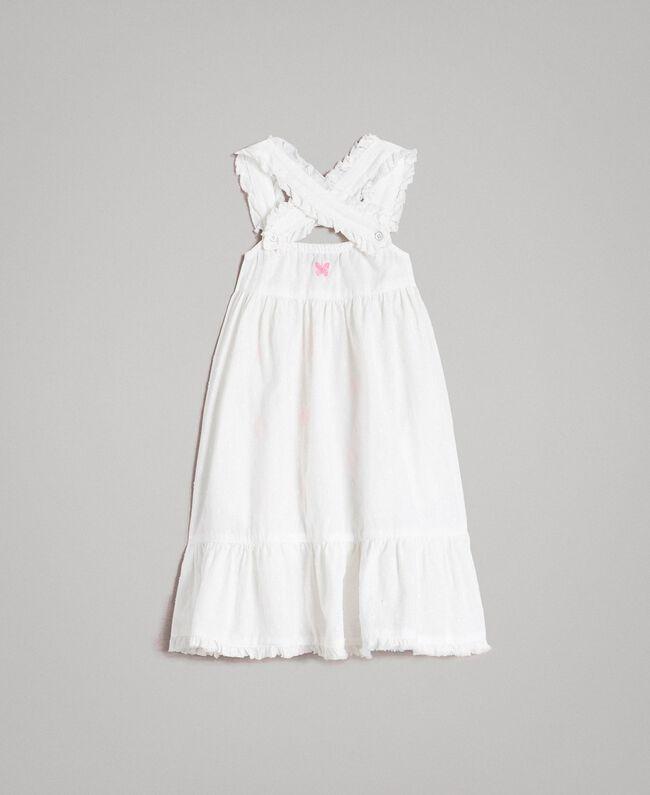 5639c48da0e Plumetis dress with embroideries Optical White   Neon Fuchsia Embroidery  Child 191GB2371-0S