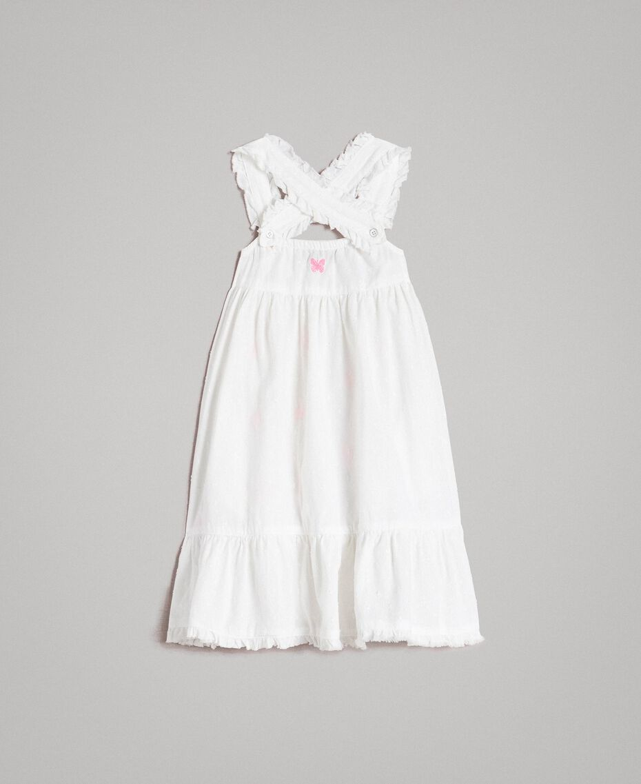 Plumetis dress with embroideries Optical White / Neon Fuchsia Embroidery Child 191GB2371-0S