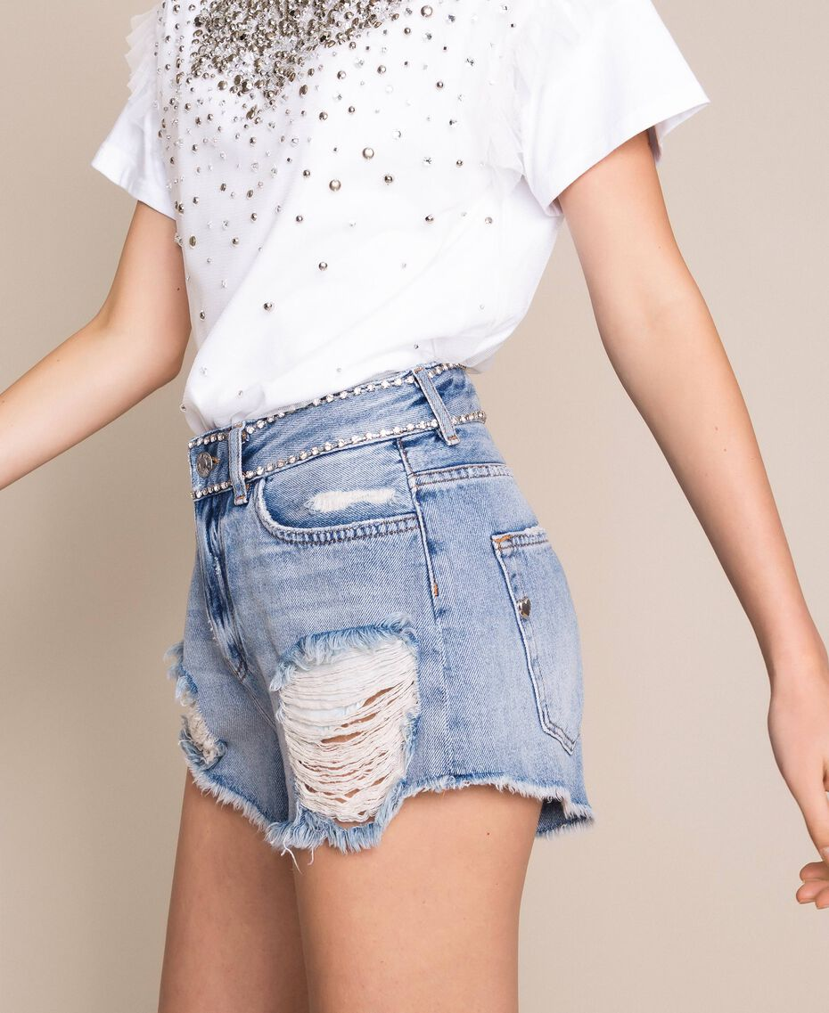 Shorts with rhinestones Denim Blue Woman 201MP2272-02