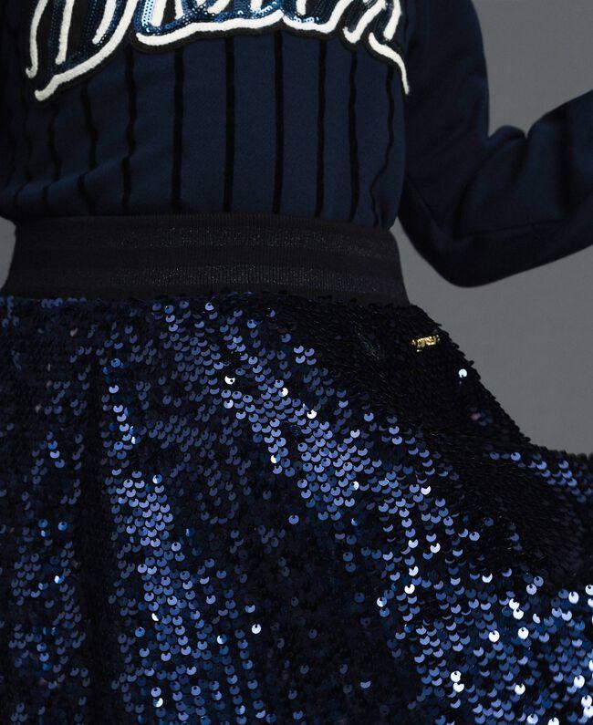 Jupe corolle en velours avec sequins Blue Night Enfant 192GJ2093-04