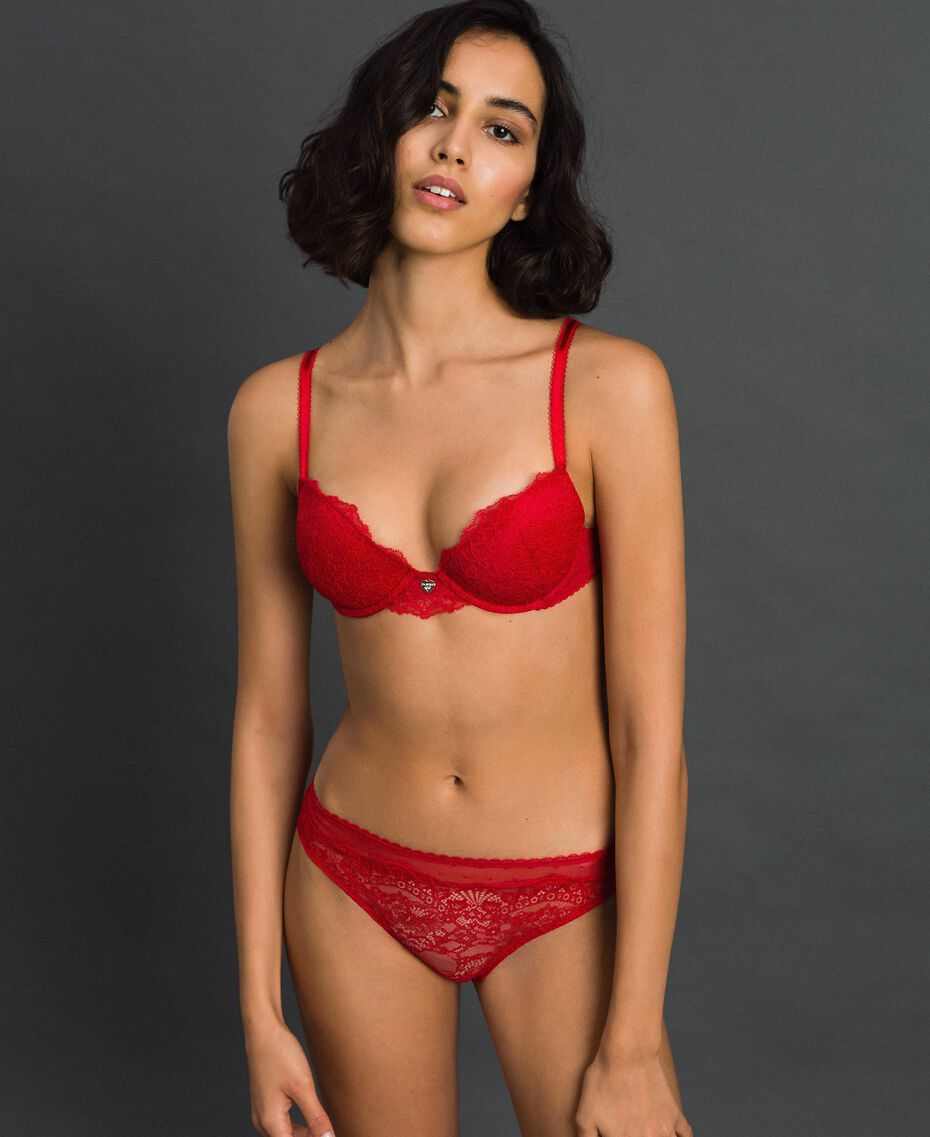 Lace and tulle briefs Burning Red Woman 192LL6C66-01
