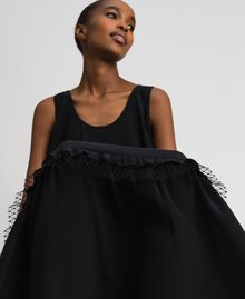 Long dress in silk blend crêpe de Chine Black Woman 192TP2361-05