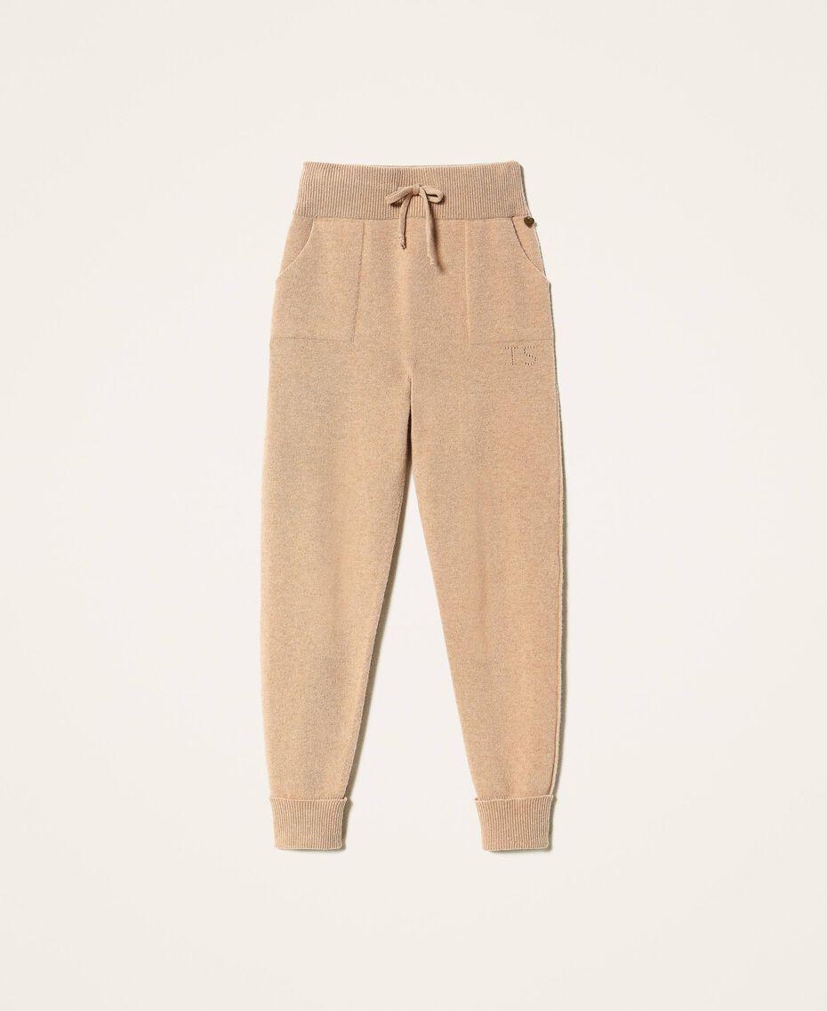 Pantalon de jogging en cachemire et laine Beige «Pastel Skin» Femme 202TT3014-0S
