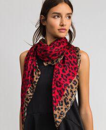 Contrasting animal print scarf Black / Japanese Blue Animal Print Woman 192MA4329-0S