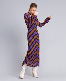 Long striped georgette dress Multicolour Stripe Print Woman TA8294-02