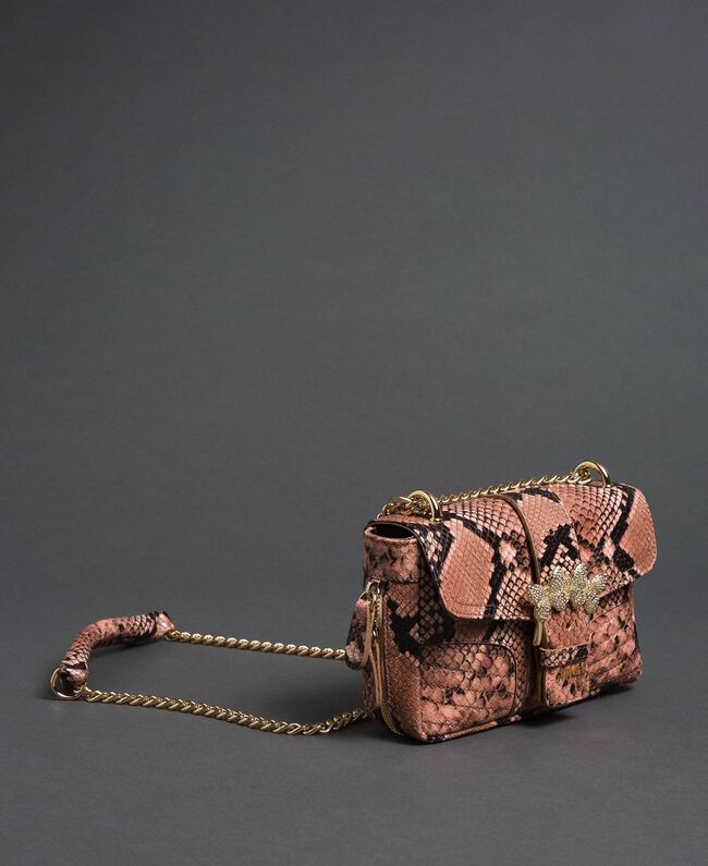Small Rebel shoulder bag with python print Mousse Pink Python Print Woman 192TA7231-01
