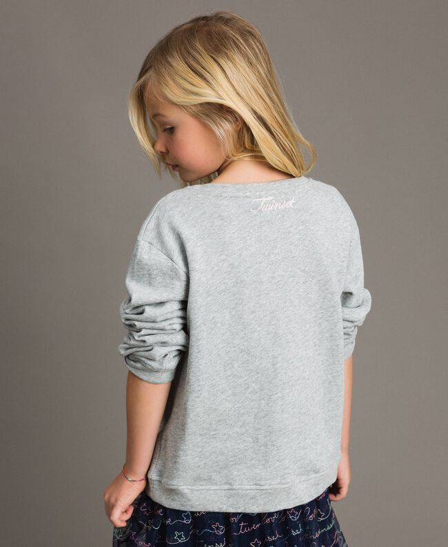 Strech cotton sweatshirt with star embroideries Light Gray Mélange Child 191GJ2321-03