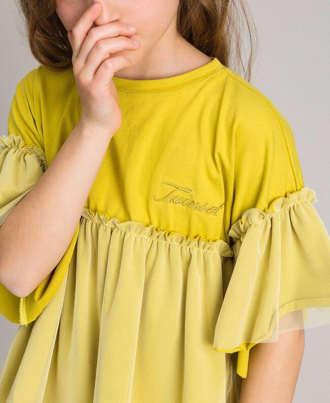 "T-shirt en jersey et tulle Jaune ""Bambou"" Enfant 191GJ2332-04"