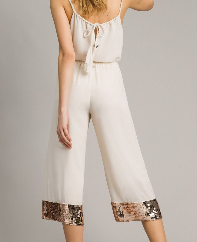 """Cropped trousers with sequins """"Milkway"""" Beige Woman 191LM2CBB-03"""