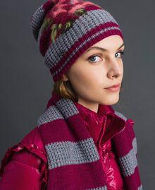 Berretto in maglia a righe con ricamo Riga Rosso Beet / Grigio Mélange Donna 192TA441L-0S