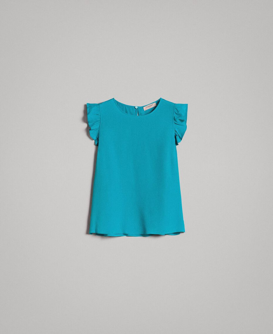 Blouse à volants en soie mélangée Bleu Céramique Femme 191TT207A-0S