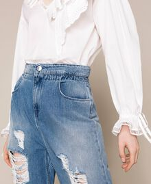 Jeans loose fit con rotture Denim Blue Donna 201MT2344-04