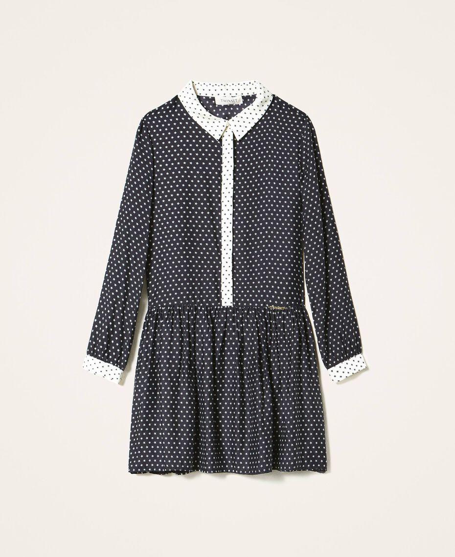 Robe chemisier avec étoiles Imprimé Étoiles Bicolore Noir / Blanc Neige Enfant 202GJ2630-0S