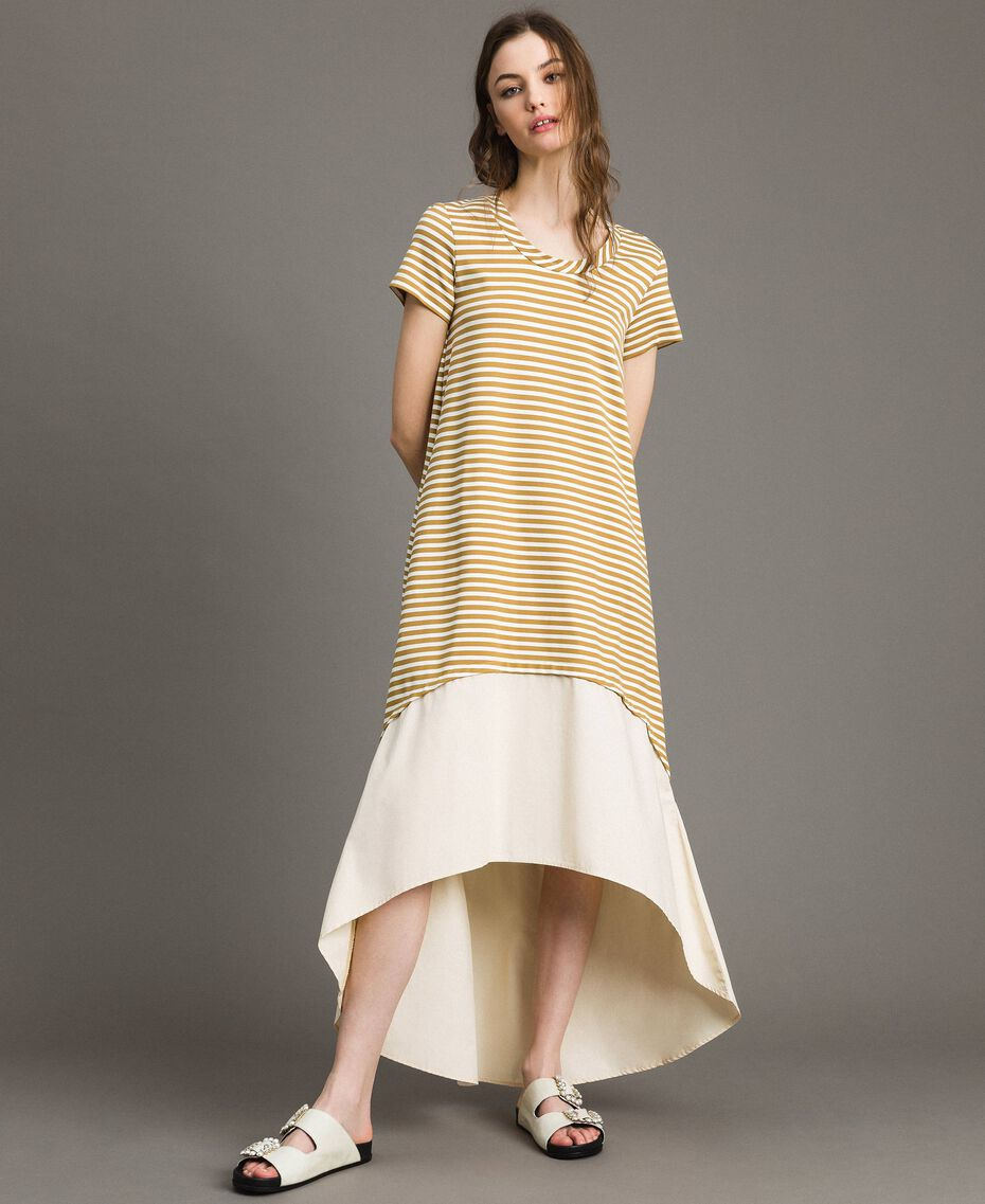 """Striped long dress with flounce Off White / """"Savannah"""" Beige Striping Woman 191ST2034-02"""