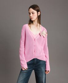 Cotton cardigan with brooch Hydrangea Pink Woman 191MP3092-02