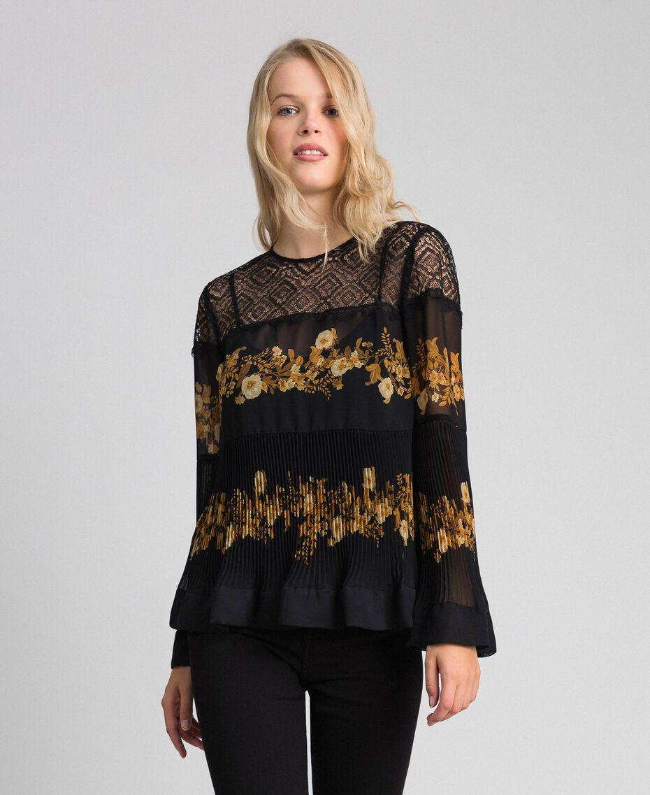 Blouse en mousseline avec imprimé floral Imprimé Rayures Patch Fleur Baroque Noir Femme 192TT2540-02