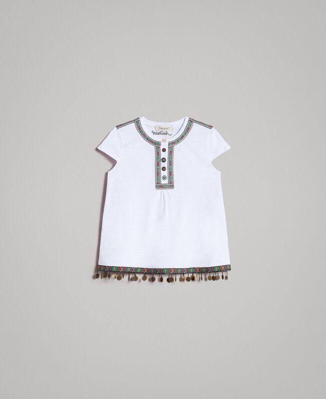 T-Shirt aus Jerseystoff mit Mini-Medaillen Weiß Kind 191GJ2053-01