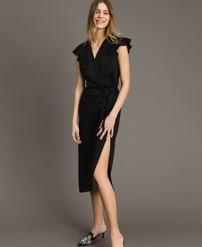 Envers satin linen long dress Black Woman 191TT2303-01