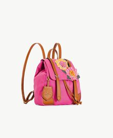 TWINSET Canvas backpack Two-tone Provocateur Pink / Leather Woman OS8TAG-02