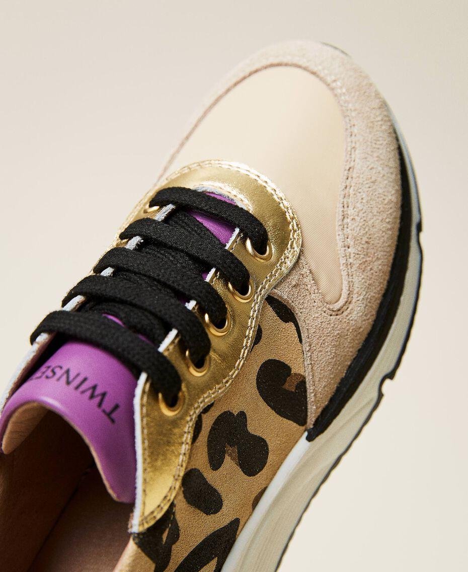 Zapatillas de running con estampado animal print Multicolor Oro / Estampado Maculado Mazapán / Wood Violet Niño 212GCJ090-02