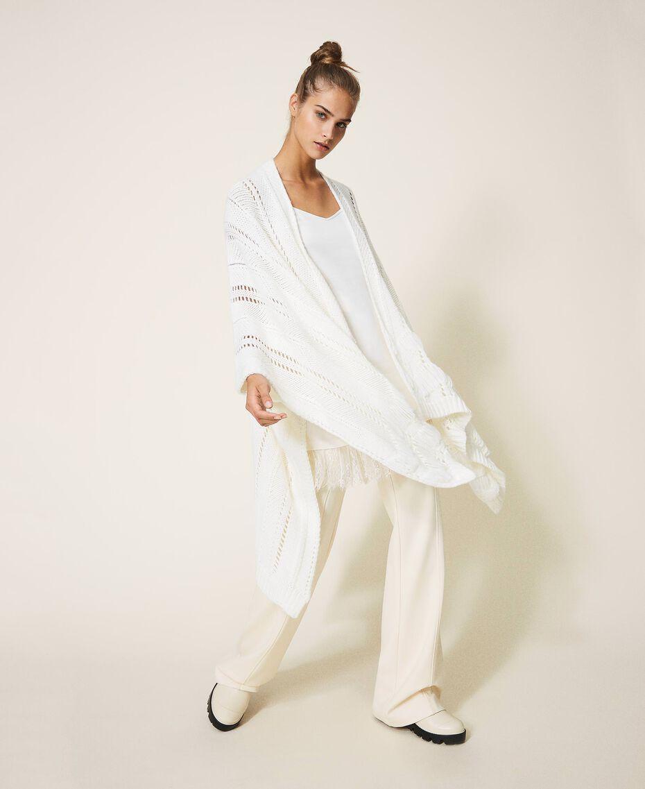 Poncho in maglia con mix di punti Bianco Panna Donna 202TA440M-01