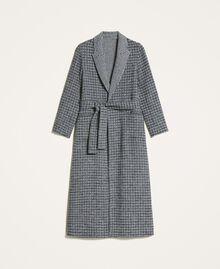 Double wool cloth reversible coat Black / Snow White Check Design Woman 202TP205C-0S