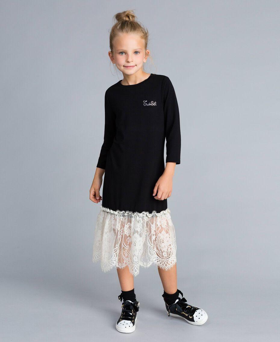 Robe longue en jersey avec dentelle Bicolore Noir / Blanc Cassé Enfant GA82GN-0S